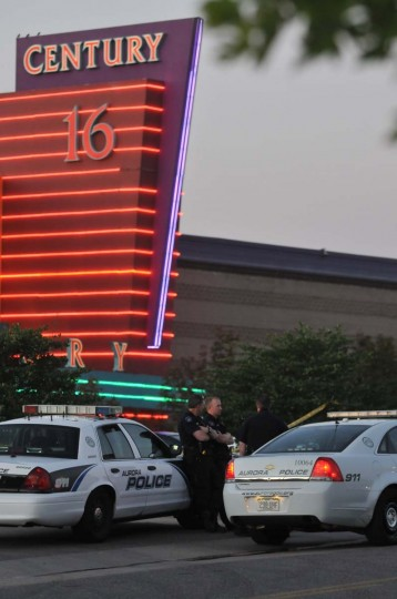 """The Century 16 movie theatre is seen where a gunmen attacked movie goers during an early morning screening of the new Batman movie, """"The Dark Knight Rises"""" July 20, 2012 in Aurora, Colorado. According to reports, over 10 people have been killed and over 30 injured. Police have the suspect, twenty-four year old James Holmes of North Aurora, in custody. (Thomas Cooper/Getty Images)"""