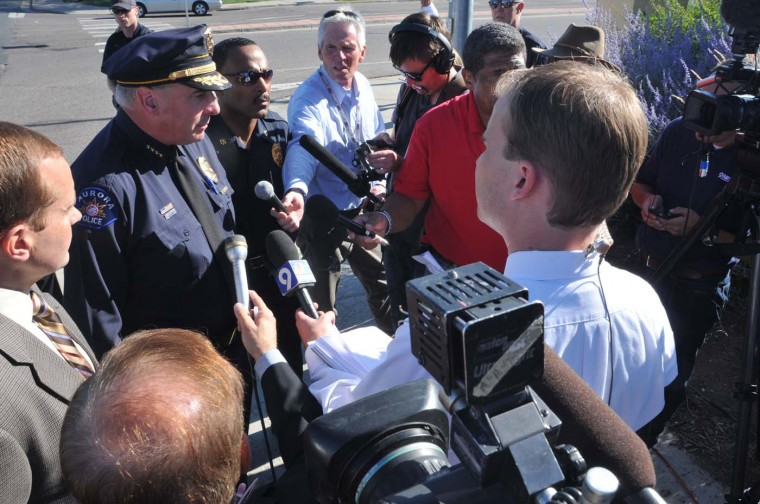 """Aurora Police Chief Dan Oates talks to the media July 20, 2012 in Aurora, Colorado. According to reports, 12 people have been killed and at least 59 wounded when James Holmes allegedly opened fire inside a movie theater showing the """"The Dark Knight Rises."""" (Thomas Cooper/Getty Images)"""