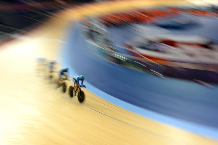 The Men's Team Pursuit squad of Belgium form a paceline during a Track Cycling practice session ahead of the London 2012 Olympic Games at the Velodrome in Olympic Park on July 27, 2012 in London, England. (Lars Baron/Getty Images)