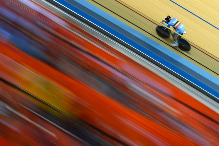 A cyclist of Belgium rides the track during a Track Cycling practice session ahead of the London 2012 Olympic Games at the Velodrome in Olympic Park on July 27, 2012 in London, England. (Lars Baron/Getty Images)