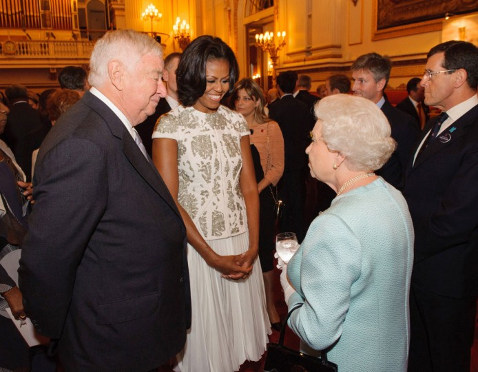 US First Lady Michelle Obama and US Ambassador Louis Susman (L) meets Queen Elizabeth II during a reception at Buckingham Palace a reception for Heads of State and Government attending the Olympics Opening Ceremony in London, England. (Dominic Lipinski - WPA Pool/Getty Images)