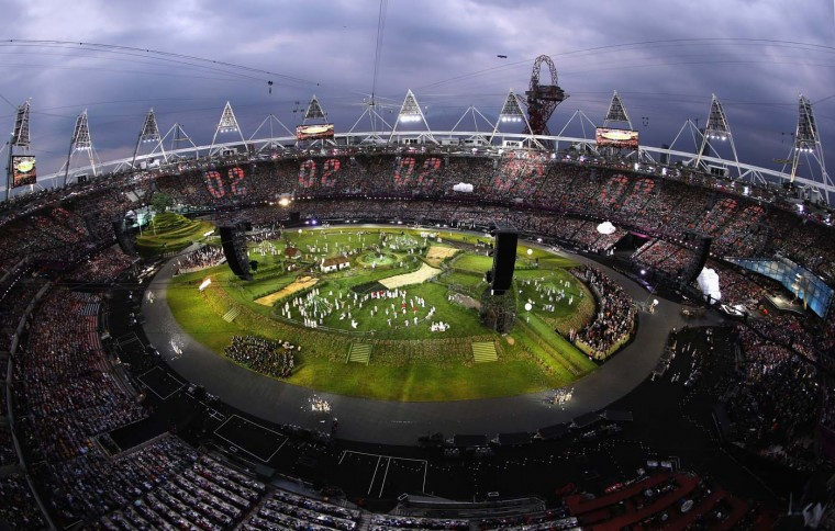 The countdown to the start of the Opening Ceremony of the London 2012 Olympic Games hits two at the Olympic Stadium on July 27, 2012 in London, England. (Chris McGrath/Getty Images)