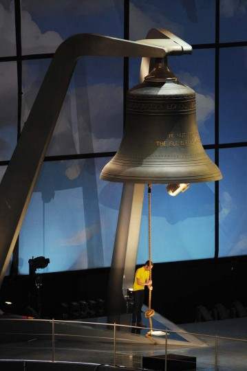 Bradley Wiggins the first British winner of the Tour De France cycle race rings the largest harmonically tuned bell in the world to signal the start of the Opening Ceremony of the London 2012 Olympic Games at the Olympic Stadium on July 27, 2012 in London, England. (Stu Forster/Getty Images)