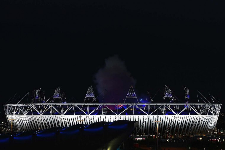 A general view of the olympic stadium during the Opening Ceremony of the London 2012 Olympic Games at the Olympic Stadium on July 27, 2012 in London, England. (Hannah Johnston/Getty Images)