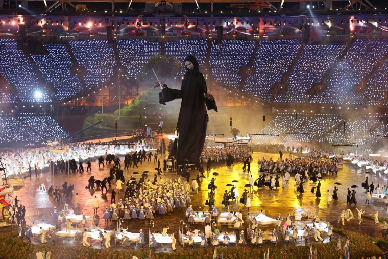 A large Voldemort from the Harry Potter book series looms over performers during the Opening Ceremony of the London 2012 Olympic Games at the Olympic Stadium on July 27, 2012 in London, England. (Clive Rose/Getty Images)