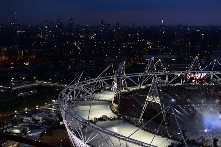 A view of the London skyline during the Opening Ceremony for the 2012 Olympic Games on July 27, 2012 at Olympic Park in London, England. (Jamie Squire/Getty Images)