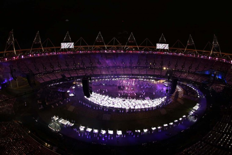 A general view is seen as dancers perform during the Opening Ceremony of the London 2012 Olympic Games at the Olympic Stadium on July 27, 2012 in London, England. (Ezra Shaw/Getty Images)