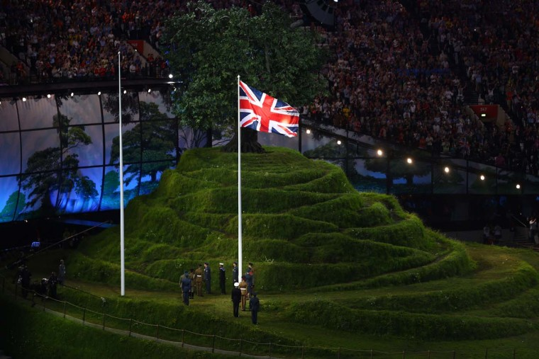 The Union flag is raised by service personnel of the British Armed Forces during the Opening Ceremony of the London 2012 Olympic Games at the Olympic Stadium on July 27, 2012 in London, England. (Paul Gilham/Getty Images)