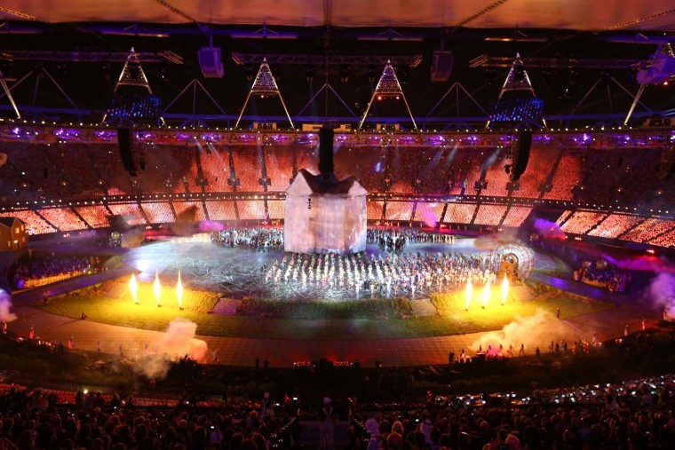 A general view is displayed while artists perform during the Opening Ceremony of the London 2012 Olympic Games at the Olympic Stadium on July 27, 2012 in London, England. (Paul Gilham/Getty Images)