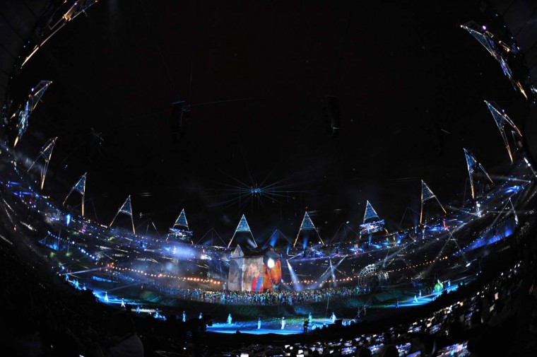 A general view is displayed while artists perform during the Opening Ceremony of the London 2012 Olympic Games at the Olympic Stadium on July 27, 2012 in London, England. (Pascal Le Segretain/Getty Images)