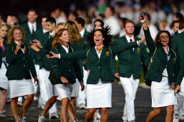 Members of the Australia team parde into the stadium during the Opening Ceremony of the London 2012 Olympic Games at the Olympic Stadium on July 27, 2012 in London, England. (Lars Baron/Getty Images)