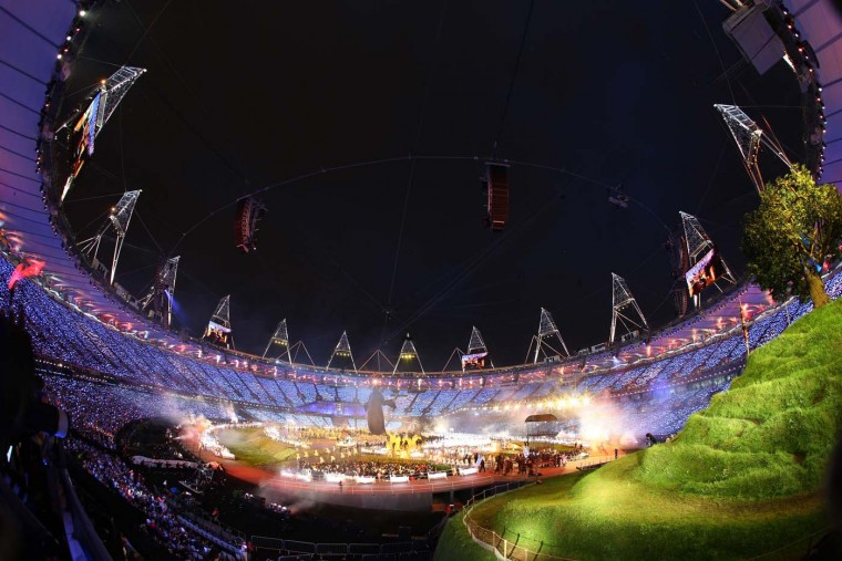 General View of performers during the Opening Ceremony of the London 2012 Olympic Games at the Olympic Stadium on July 27, 2012 in London, England. (Ryan Pierse/Getty Images) 1