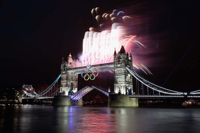 Fireworks explode from Tower Bridge during the opening ceremony of the London 2012 Olympic Games on July 27, 2012 in London, England. (Streeter Lecka/Getty Images)