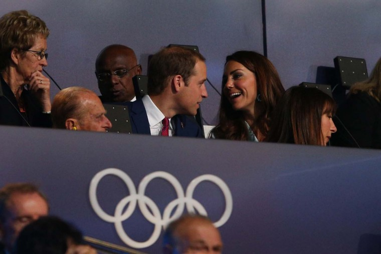 Prince William, Duke of Cambridge,talks with Catherine, Duchess of Cambridge during the Opening Ceremony of the London 2012 Olympic Games at the Olympic Stadium on July 27, 2012 in London, England. (Cameron Spencer/Getty Images)