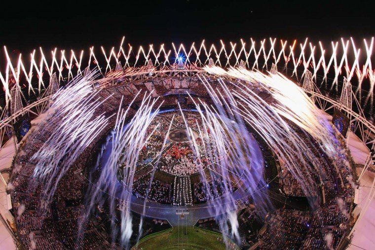Fireworks go off over the Olympic Stadium during the Opening Ceremony of the London 2012 Olympic Games at the Olympic Stadium on July 27, 2012 in London, England. (Chris McGrath/Getty Images)