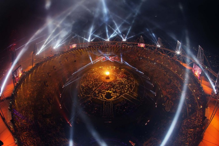 The Olympic flame burns within the Cauldron during the Opening Ceremony of the London 2012 Olympic Games at the Olympic Stadium on July 27, 2012 in London, England. (Chris McGrath/Getty Images)