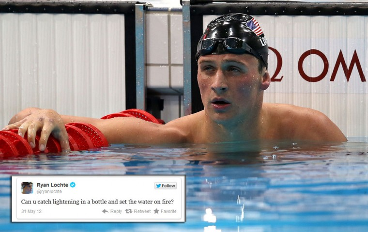 "Ryan Lochte: The U.S. swimmer's Olympics experience has had its highs and lows, but his tweets remain consist – consistently weird. His twitter feed contains some gems like ""Too travel is sometimes better to arrive"" and ""I nee some energy for tomorrow race. All I need is an ice cold Mountain Dew. With some gatorade dink that noenthat will kre p u up and ready."" (Clive Rose/Getty Images)"