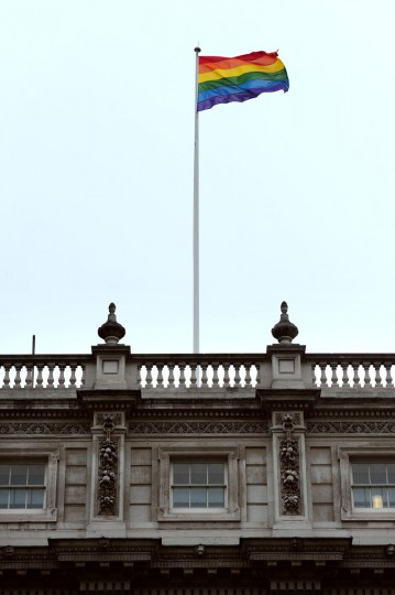 The British government on Friday hoisted the rainbow flag symbolizing gay pride over one of its ministries for the first time. Deputy Prime Minister Nick Clegg requested the flag be flown on Whitehall, the central London street that houses several ministries, ahead of the World Pride parade celebrating gay rights in the British capital on Saturday. (Carl Court/AFP/Getty Images)