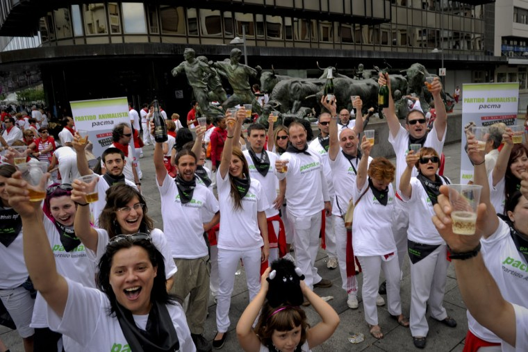 Members of the PACMA (Against Animal Crualty Antibull Party) organization stage a protest against bullfighting during the San Fermin Festival, on July 7, 2012, in Pamplona, northern Spain. The festival is a symbol of Spanish culture that attracts thousands of tourists to watch the bull runs despite heavy condemnation from animal rights groups. (Pedro Armestre/AFP/Getty Images)
