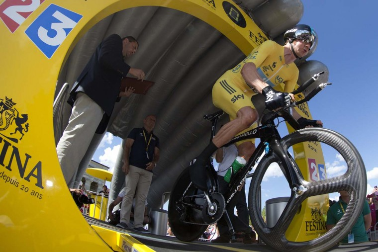 British Bradley Wiggins starts competing at the beginning of the 41,5 km individual time-trial and ninth stage of the 2012 Tour de France cycling race starting in Arc-et-Senans and finishing in Besancon on July 9, 2012. (Joel Saget/AFP/Getty Images)
