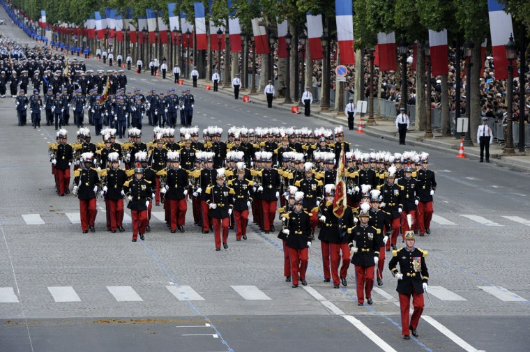 Students of the special military school of Saint-Cyr take part in the annual Bastille Day military parade on the Champs-Elysees in Paris July 14, 2012. The Arc de Triomphe is seen in the background. (Bertrand Guay/AFP/Getty Images)