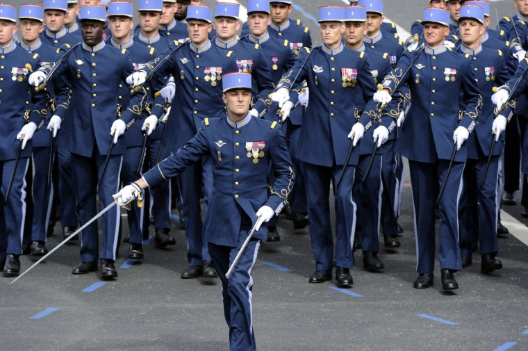 Students of the military school EMIA (In French : Ecole Militaire Interarmes) take part in the annual Bastille Day military parade on the Champs-Elysees in Paris July 14, 2012. (Bertrand Guay/AFP/Getty Images)