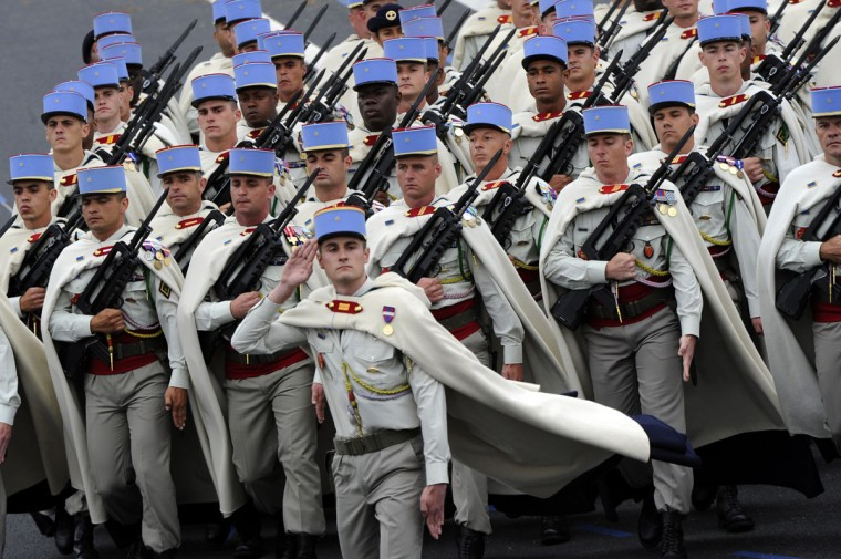 French soldiers from the 1st Spahis Regiment take part in the annual Bastille Day military parade on the Champs-Elysees in Paris July 14, 2012. (Bertrand Guay/AFP/Getty Images)