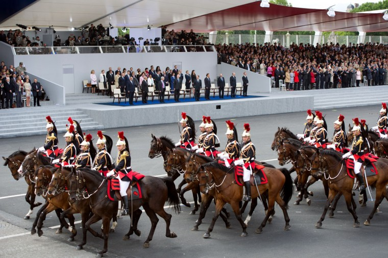 Mounted French Republican guards take part in the annual Bastille Day military parade on the Champs-Elysees in Paris July 14, 2012. (Bertrand Langlois/AFP/Getty Images)