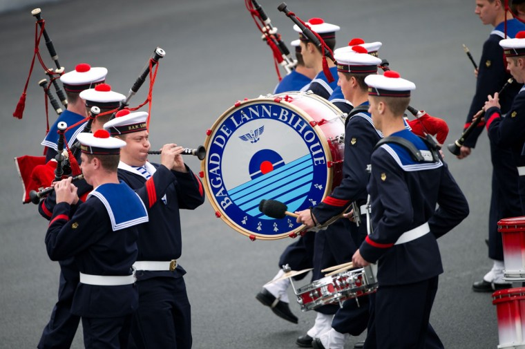 Musicians of the Bagad of Lann-Bihoue, a French Navy Pipe Band, take part in the annual Bastille Day military parade on the Champs-Elysees in Paris, on July 14, 2012. (Bertrand Langlois/AFP/Getty Images)