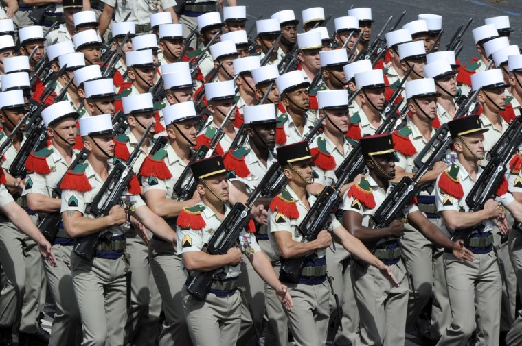 Soldiers from French Foreign Legion take part in the annual Bastille Day military parade on the Champs-Elysees in Paris, on July 14, 2012. (Bertrand Guay/AFP/Getty Images)
