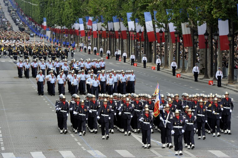 French firefighters take part in the annual Bastille Day military parade on the Champs-Elysees in Paris, on July 14, 2012. (Bertrand Guay/AFP/Getty Images)