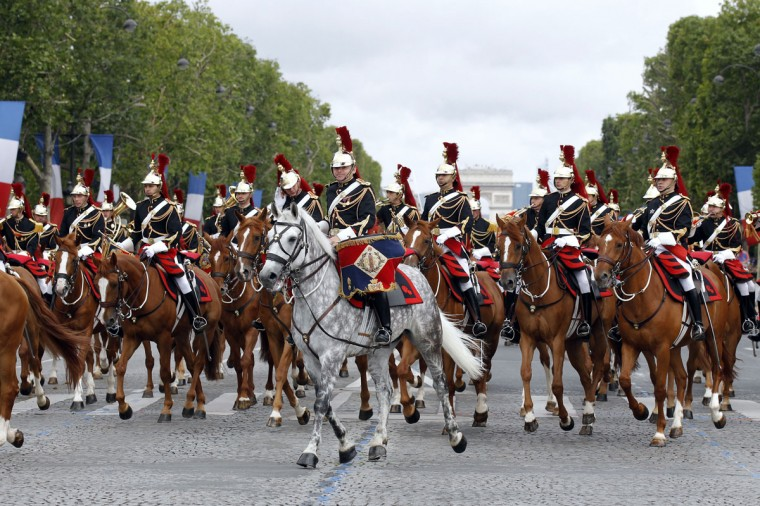 Mounted French Republican guards take part in the annual Bastille Day military parade on the Champs-Elysees in Paris, on July 14, 2012. (Benoit Tessier/AFP/Getty Images)