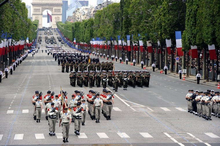 Soldiers parade on the Champs-Elysees avenue during the annual Bastille Day military parade in Paris, on July 14, 2012. (Bertrand Guay/AFP/Getty Images)