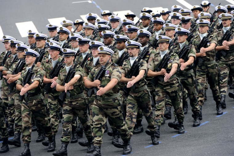 French navy servicemen take part in the annual Bastille Day military parade on the Champs-Elysees in Paris, on July 14, 2012. (Bertrand Guay/AFP/Getty Images)