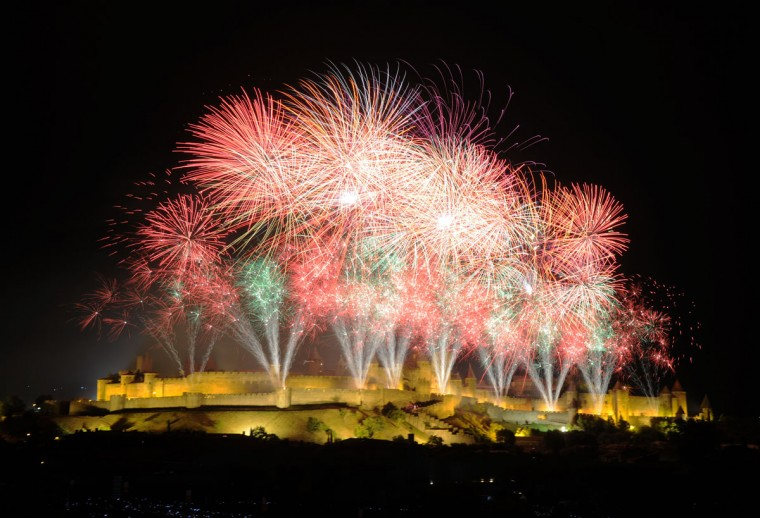 Fireworks illuminate the night sky above the historic fortified city of Carcassonne, southwestern France, during the annual Bastille Day celebrations on July 14, 2012. (Eric Cabanis/AFP/Getty Images )