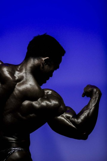 A participant competes in the 2012 International Bodybuilding and Fitness Invitation Championship in Hong Kong. (Philippe Lopez/AFP)