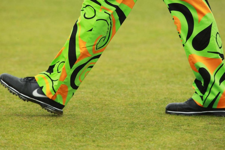 John Daly of US wearing bright trousers during a practice round for the 2012 British Open Golf Championship at Royal Lytham and St Annes in Lytham, north-west England ahead of the Open Championship which begins on July 19. (Peter Muhly/Getty Images)