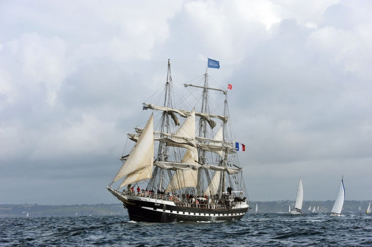 "Sailboats parade on July 19, 2012 in the Brest bay, French Britanny, during the 2012 ""Tonnerres de Brest"" maritime festival featuring thousands of traditional sailboats. (Alain Jocard/AFP/Getty Images)"