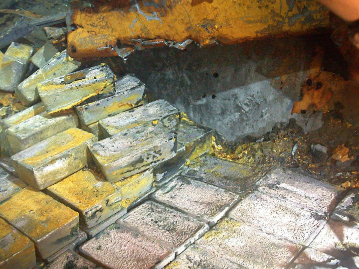 Silver from the SS Gairsoppa shipwreck lies approximately 4700 meters deep in the North Atlantic. Odyssey Marine Exploration pioneers in the field of deep-ocean exploration, announced it has successfully recovered approximately 48 tons of silver bullion from a depth of approximately three miles July 18, 2012. This initial recovery of bullion from the SS Gairsoppa, a 412-foot steel-hulled British cargo ship that sank in February 1941, totals 1,203 silver bars or approximately 1.4 million troy ounces of silver and has been transported to a secure facility in the United Kingdom. (Odyssey Marine Expedition/HO/AFP/Getty Images)