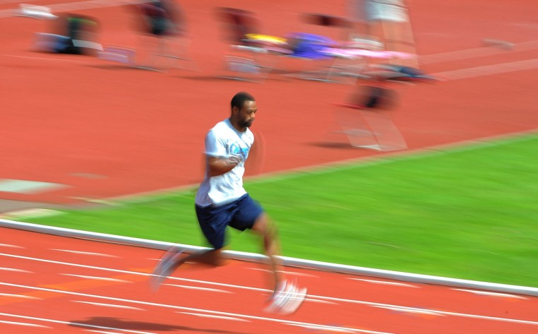 US athlete Tyson Gay takes part in a training session at the Alexander Stadium in Birmingham, central England on July 25, 2012 ahead of the London 2012 Olympics. (Andrew Yates/AFP/Getty Images)