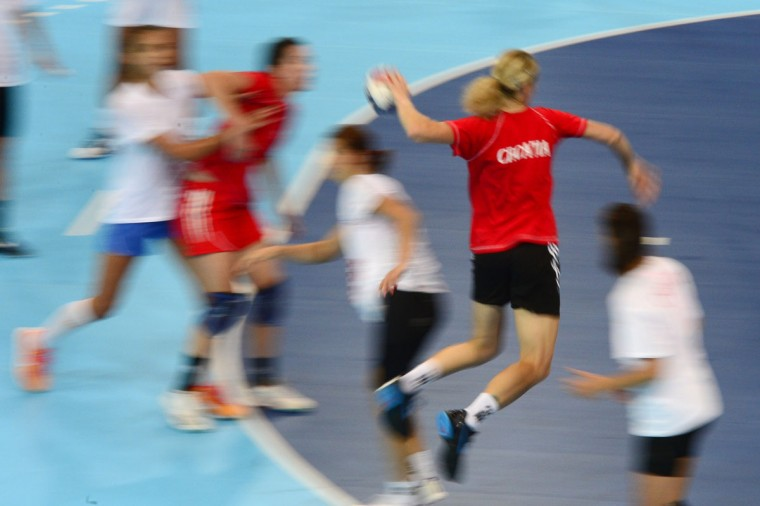 Croatian women's handball team take part in a training session at Copper Box in London on July 25, 2012 ahead of the London 2012 Olympic Games. (Javier Soriano/AFP/Getty Images)