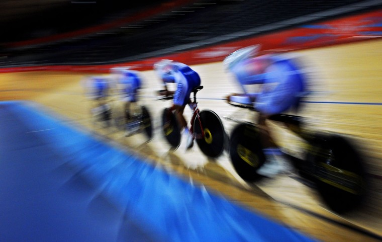 South Korea's men's track cyclists are pictured during a training session at the Velodrome venue in Olympic park London, before the London 2012 Olympic games on July 26, 2012. (Carl de Souza/AFP/Getty Images)