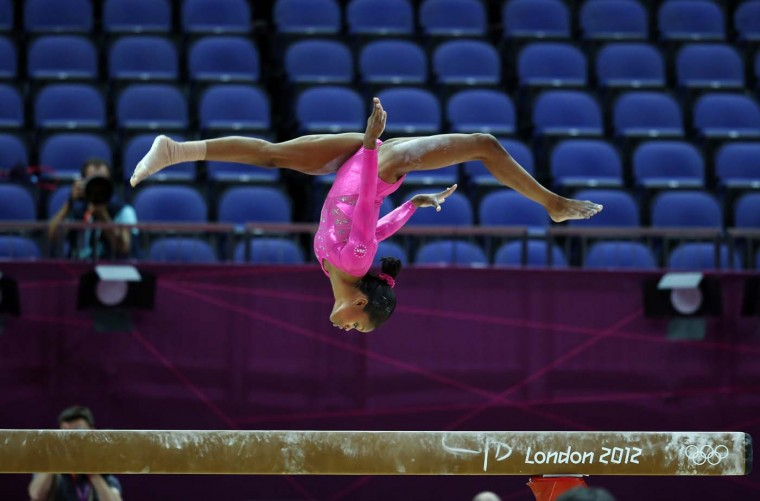 U.S. gymnast Gabrielle Douglas takes part in a training session at 02 North Greenwich Arena in London on July 26, 2012 on the eve of the start of the London 2012 Olympic Games. (Thomas Coex/AFP/Getty Images)