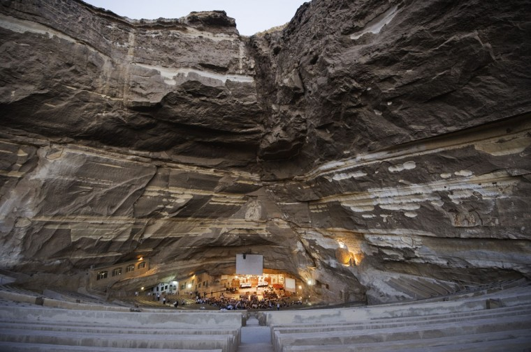 """A general view of St Samaans (Simon) Church also known as the Cave Church in the Mokattam village, nicknamed as """"Garbage City,"""" is seen on July 26, 2012 in Cairo. Once a week hundreds gather at the Cave Church and after the prayer, a coptic priest performs exorcisms or healing blessings to some of the believers. The Monastery, named for the10th century Coptic St. Simon the Tanner, is the largest and it has an amphitheater with a seating capacity of 20,000 making it the largest church in the Middle East. (Gianluigi Guercia/AFP/Getty Images)"""