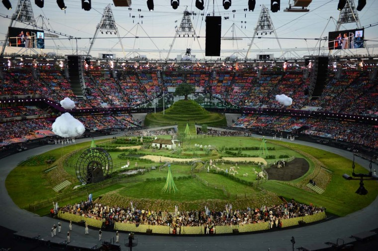 Animals and actors enter the stadium for the British meadow scene prior the opening ceremony of the London 2012 Olympic Games on July 27, 2012 at the Olympic stadium in London. (Franck Fiferack/AFP/Getty Images)