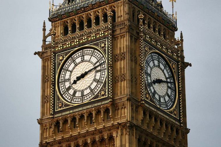 The clock face of Big Ben reads 20:12 at The Houses of Parliament in London on July 27, 2012, during the opening ceremony of the London 2012 Olympic Games. (Justin Tallis/AFP/Getty Images)