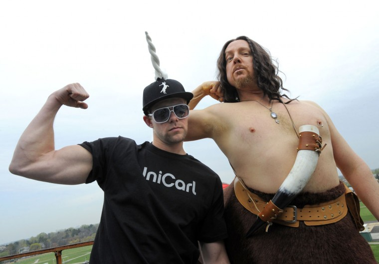 APRIL 1: Opening day of live horse racing at Pimlico with Preakness Infieldfest mascot Kegasus and his new sidekick UniCarl. (Lloyd Fox/Baltimore Sun)