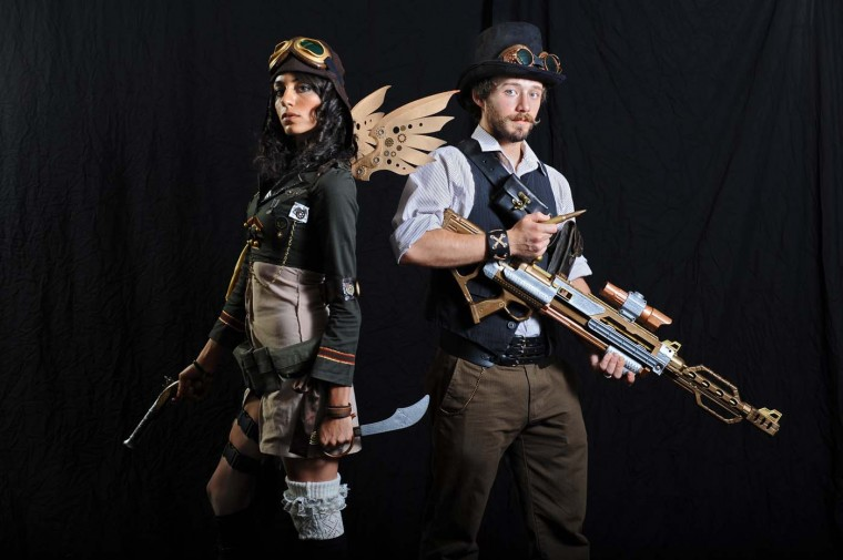 Samantha Ghayour, left, dressed as Steampunk Aviator, and Luke McKnew, dressed as Steampunk Sniper. Both of College Park, Md. (Kenneth K. Lam/Baltimore Sun)