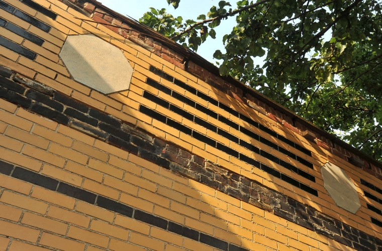 JULY 5, 2012: The Art Deco facade used contrasting bricks to create bold horizontal lines which wrapped around the sides of the theater. (Amy Davis/Baltimore Sun)