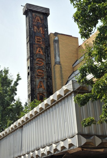JULY 5, 2012: Vertical theater sign for the former Ambassador Theatre visible above the marquee. (Amy Davis/Baltimore Sun)